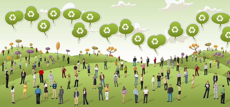 Ilustración de muchas personas sobre un prado conversando sobre medioambiente