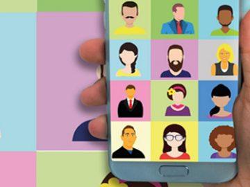Ilustración de varias personas en una sesión virtual desde un celular
