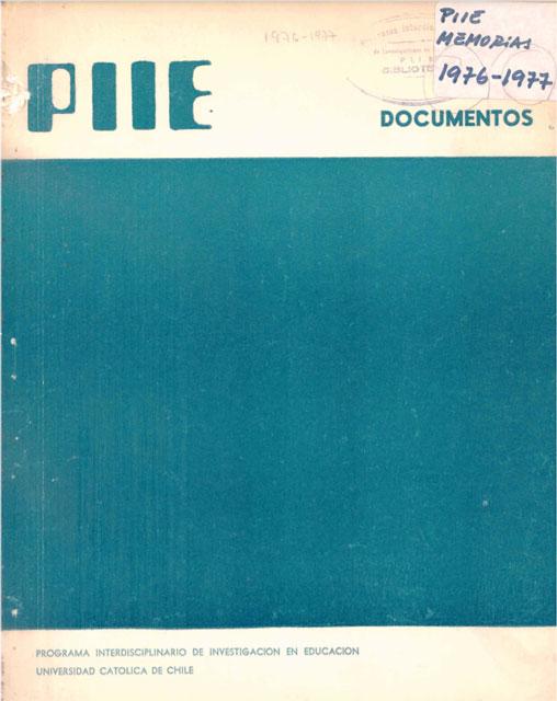 Portada Memoria PIIE 1976-1977