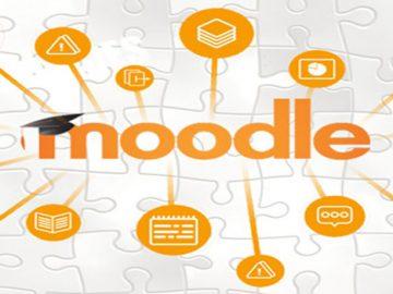 Logotipo de Moodle sobre un fondo de rompecabezas