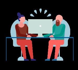 Ilustración de dos personas utilizando un computador