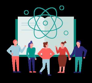 Ilustración de personas frente a un libro abierto, con un dibujo de un átomo sobre ellos