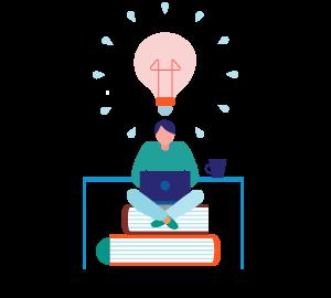 Ilustración de una persona sentada sobre libros, usando un computador y con el dibujo de una ampolleta sobre él